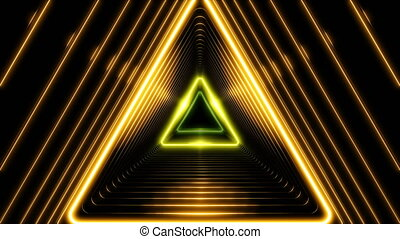Beautiful Abstract Triangle Tunnel with Light Lines Moving Fast. Different Colors Rainbow. Background Futuristic Tunnel with Neon Lights. Looped 3d Animation Art Concept. 4K