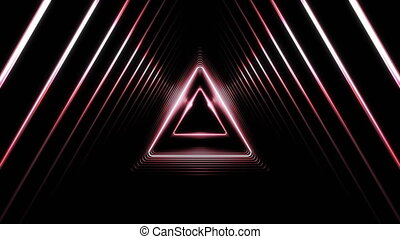 Beautiful Abstract Triangle Tunnel with Light Lines Moving Fast. Set of Several Video Elements. Flying Through the Wormhole Background Futuristic Tunnel. Looped 3d Animation.