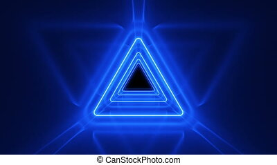 Beautiful Abstract Triangle Tunnel with Neon Light Lines...