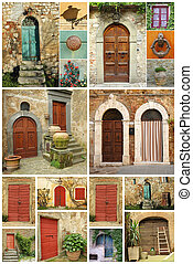 beautiful abstract tuscan house made of various images with old