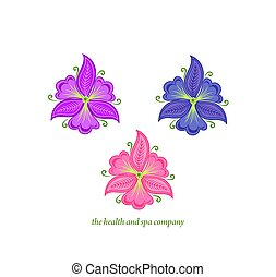 Beautiful abstract vector orchid and garden violet flowers ...