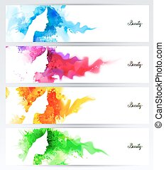 Beautiful abstract woman face silhouettes are on the abstract colorful backgrounds. Set of four headers for banners.