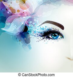 Beautiful abstract women with abstract floral element. Part...