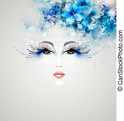 Beautiful abstract women with abstract design floral...