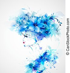 Beautiful abstract women with abstract design floral ...