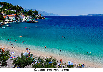 Beautiful Adriatic Beach and Lagoon with Turquoise Water...