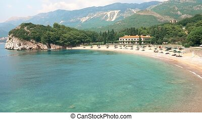 Beautiful Adriatic sea beach in Milocer, Montenegro -...