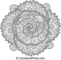 Beautiful adult coloring book page with spirals
