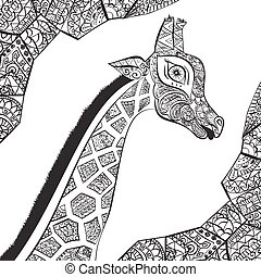Beautiful adult Giraffe. Hand drawn Illustration of ornamental giraffe.  isolated giraffe on white background. The head of an ornamental giraffe