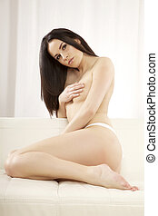 beautiful adult sensuality topless woman - portrait of a...