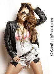 beautiful adult sensuality woman in black jacket