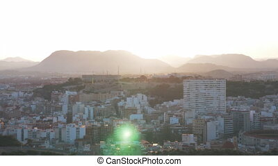 Beautiful aeral view of evening Alicante - A picturesque...