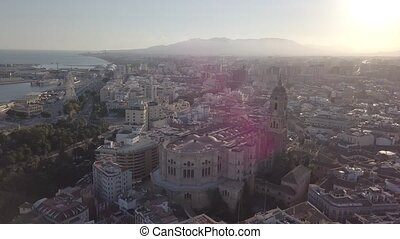 Beautiful, aerial cityscape of Malaga with Cathedral in the ...