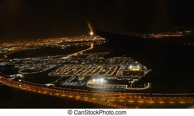 Beautiful aerial flight view from passenger air plane wing...