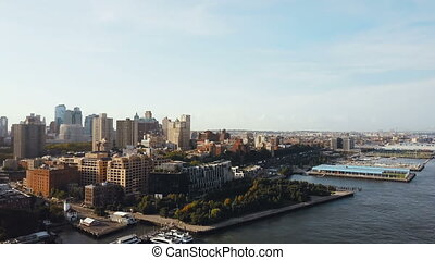 Beautiful aerial landscape of the Brooklyn district in New...