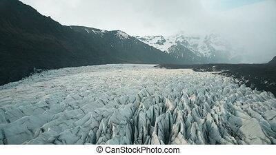 Beautiful aerial panoramic view of Vatnajokull glacier with...