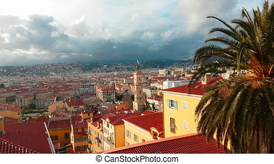 Beautiful Aerial Rotating Motion View of The City of Nice France