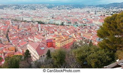 Aerial Rotating Motion View of The City of Nice France