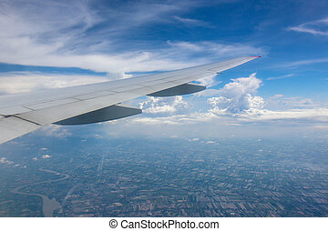 Beautiful aerial view from the plane over