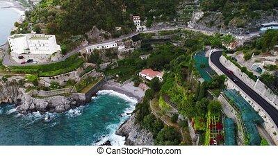 Beautiful aerial view of Amalfi coast in italy