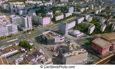 """Beautiful aerial view of Berlin, Germany. Hectic life of European megalopolis"""