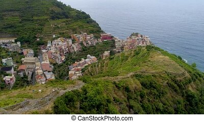 Beautiful aerial view of Cinque Terre coast in italy -...