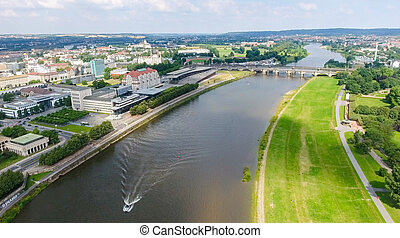 Beautiful aerial view of Dresden in summer time