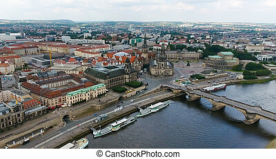 Beautiful aerial view of Dresden, Saxony - Germany