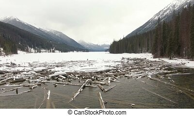 Beautiful Aerial View of Drift Wood by the frozen lake ...