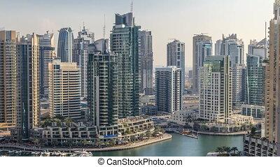 Beautiful aerial view of Dubai Marina promenade and canal...