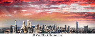Beautiful aerial view of Dubai Marina skyscrapers at sunset