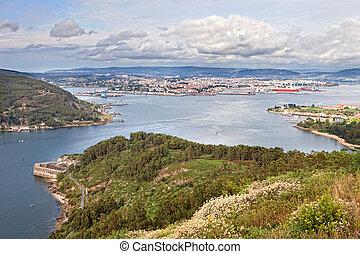 Beautiful aerial view of Ferrol estuary