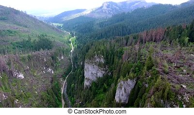 aerial view of mountains valley - beautiful aerial view of...