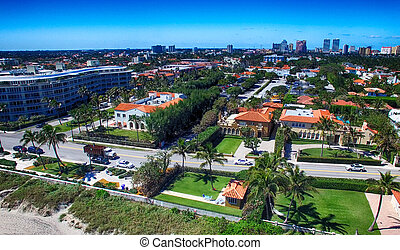 Beautiful aerial view of Palm Beach on a sunny day, Florida
