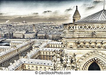 Beautiful aerial view of Paris in winter