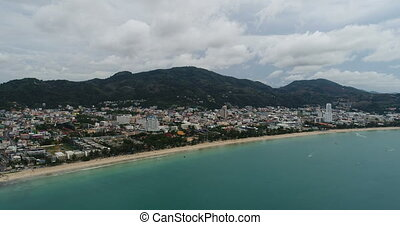 Beautiful aerial view of Patong beach in Phuket