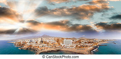 Beautiful aerial view of Playa de Las Americas in Tenerife.