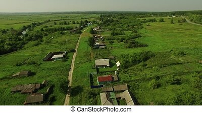 Beautiful aerial view of Russian country landscape