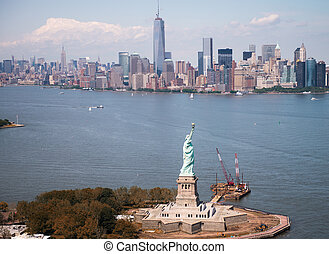 Beautiful aerial view of Statue of Liberty - New York City.