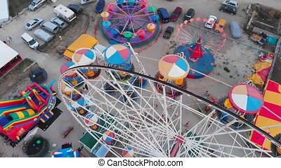 Beautiful aerial view of the amusement park by the sea.