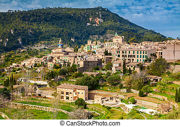 aerial view of the mountain village Valldemossa
