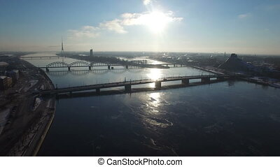 Beautiful aerial view of the river Daugava