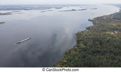 Beautiful aerial view of the river Dnipro. Ukraine, slow motion