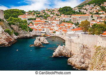 small cozy harbor in the old part of Dubrovnik