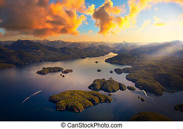 Beautiful aerial view of the west coast on Vancouver Island.