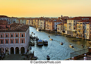 Beautiful aerial view over the Grand Canal at sunset, Venice, Italy