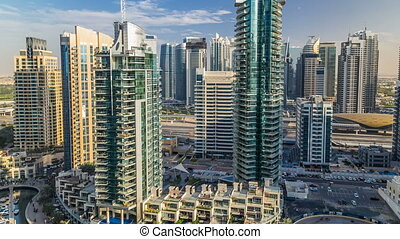 Beautiful aerial view timelapse of Dubai Marina at day time in Dubai, UAE