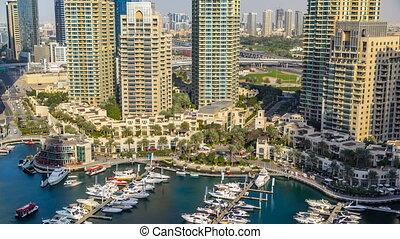 Beautiful aerial view timelapse of Dubai Marina at day time in Dubai, UAE