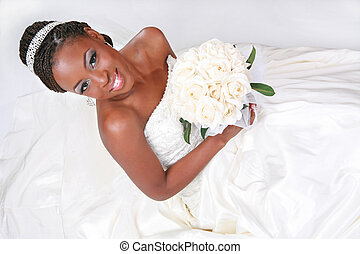 Bequtiful African American Bride Portrait Sitting on White Background