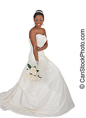 Beautiful African American Bride Portrait Standing on White...